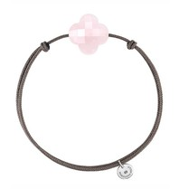 Morganne Bello Morganne Bello cord bracelet with pink clover quartz