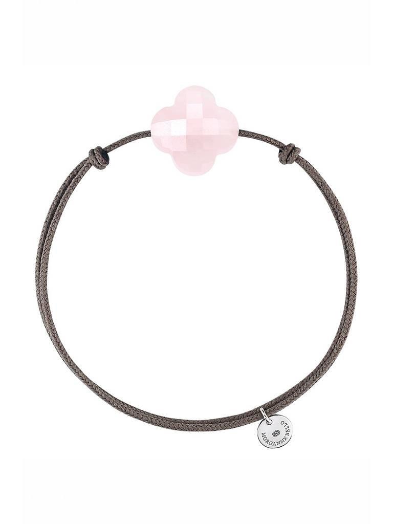 Morganne Bello Morganne Bello koord armband met roze klaver kwarts