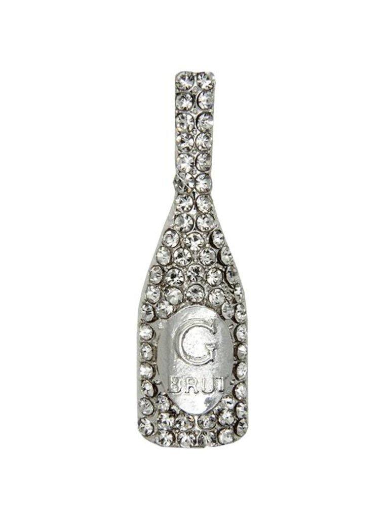 Godert.Me Godert.me Champagne Bottle Rhinestone brosche silber