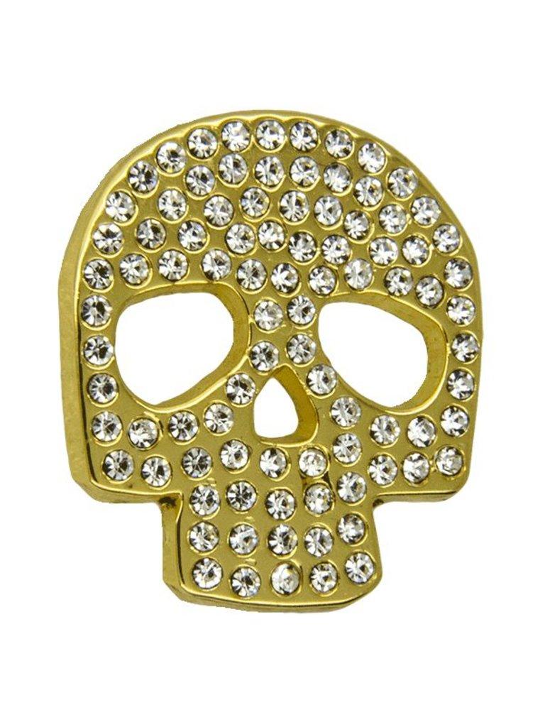 Godert.Me Godert.me Rhinestone skull pin goud