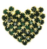 Godert.Me Godert.me Rhinestone heart gold / green