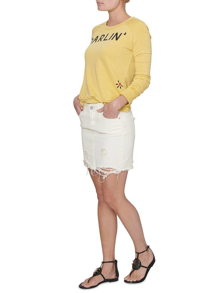 Articles of Society Stacey Riga ripped mini rok off white