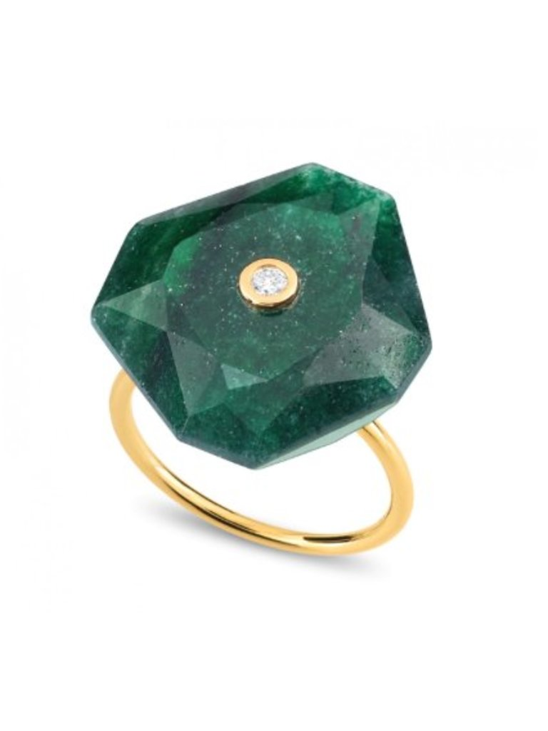 Morganne Bello Morganne Bello ring oversized groen Quartz