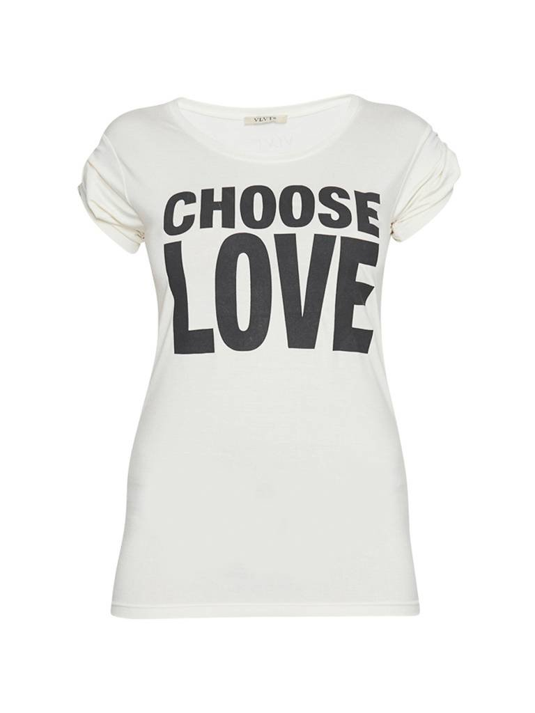VLVT VLVT choose love t-shirt met opdruk wit zwart