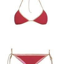 Tooshie Hampton reversible triangle bikini bordeaux roze