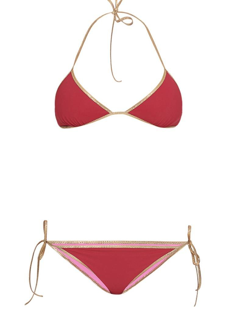 Tooshie Tooshie Hampton reversible triangle bikini burgundy pink