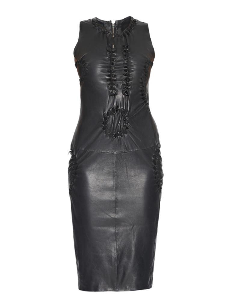 432c179f88 Yirga leather dress with open details black - VLVT Online
