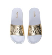 Diadora slipper wit goud
