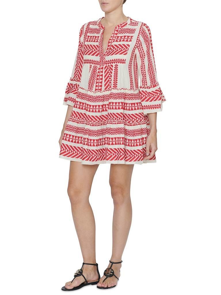 Hingabe Kleid mit Druck rot weiß - VLVT Online