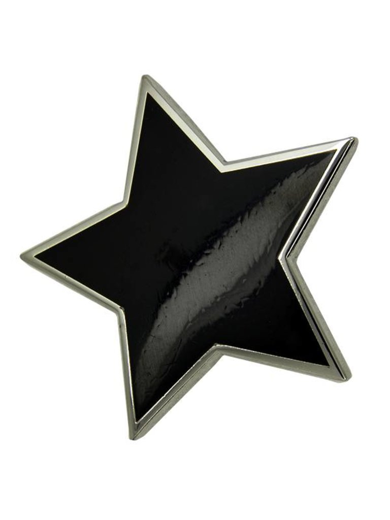 Godert.me Großer schwarzer Stern Pin Silber