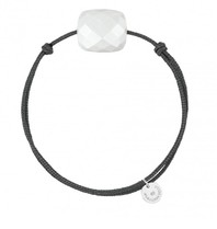 Morganne Bello Morganne Bello koord armband wit Agate