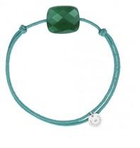 Morganne Bello Morganne Bello koord armband groen Agate