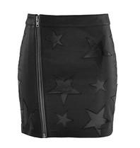 Zoe Karssen Star appliquí©s leren rok met rits zwart