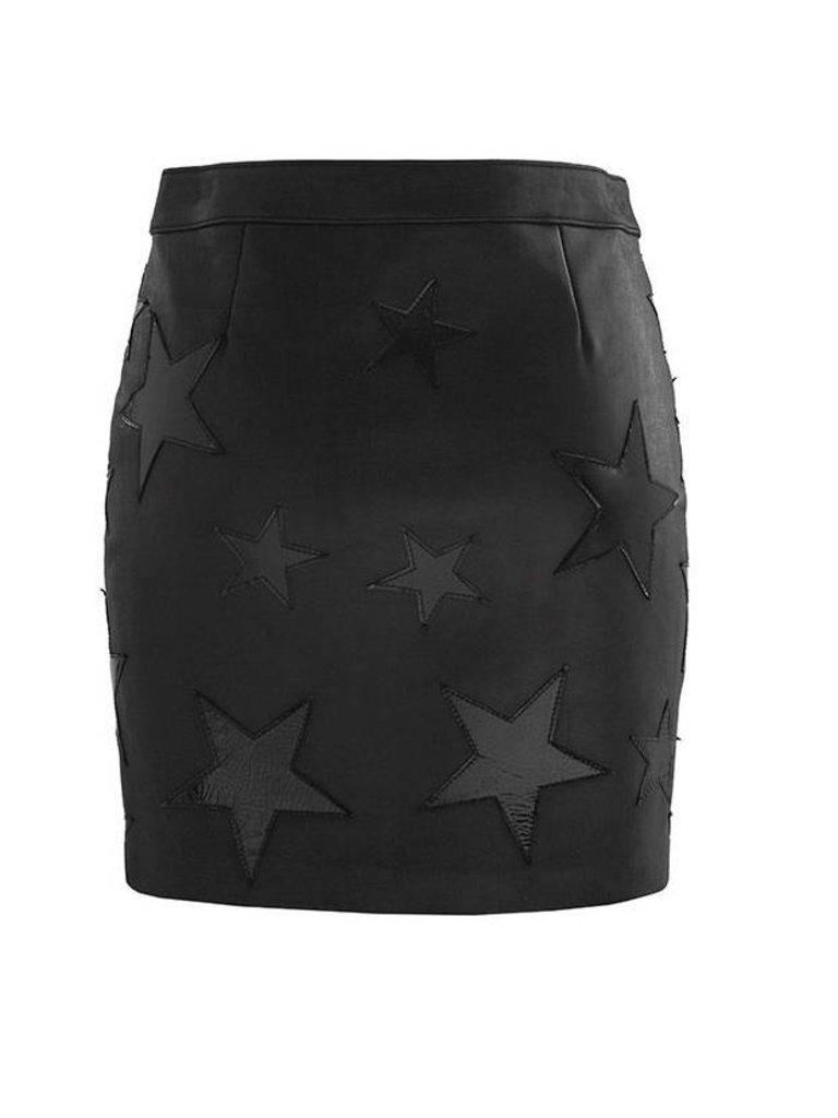 Zoe Karssen Zoe Karssen Star appliqués leren rok met rits zwart