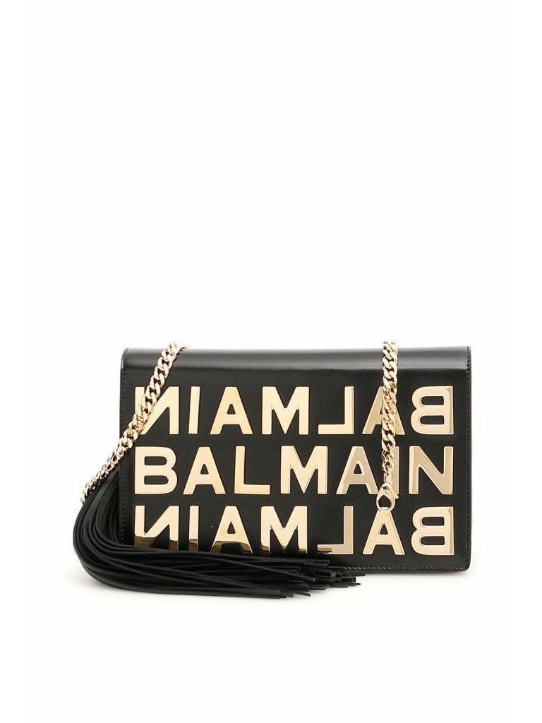 Balmain Balmain crossbody tas met gouden logo zwart