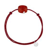 Morganne Bello koord armband Cornaline steen rood