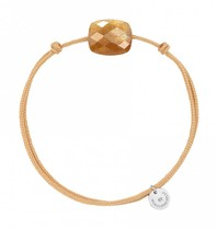 Morganne Bello Morganne Bello koord armband Sunstone steen beige goud