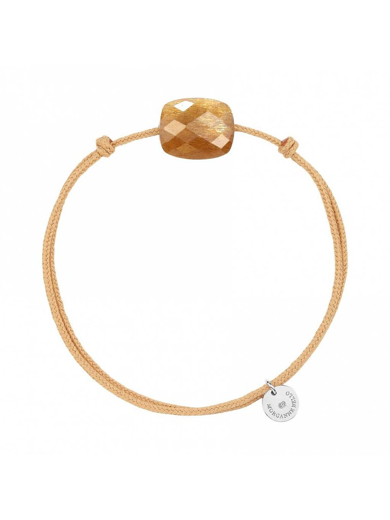 Morganne Bello Morganne Bello koord armband Sunstone steen beige goud