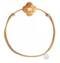 Morgne Bello Schnur Armband Sonnenstein Klee Stein beige Gold