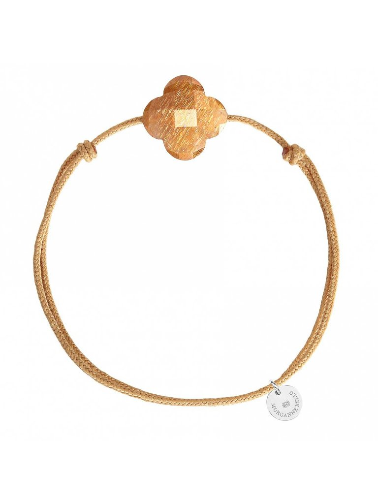 Morgnee Bello Schnur Armband Sonnenstein Kleeblatt Stein beige gold - Copy