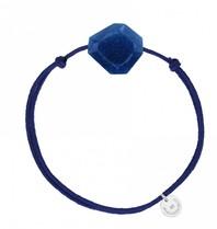Morganne Bello koord armband met quartz steen donkerblauw
