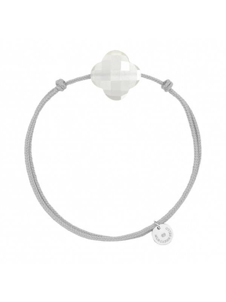 Morganne Bello Morganne Bello cord bracelet with Moonstone clover stone light gray