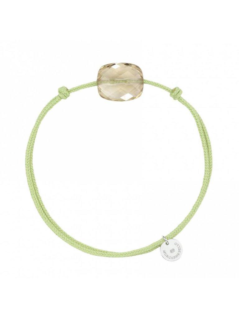Morganne Bello Morganne Bello koord armband met Quartz steen Citrine groen