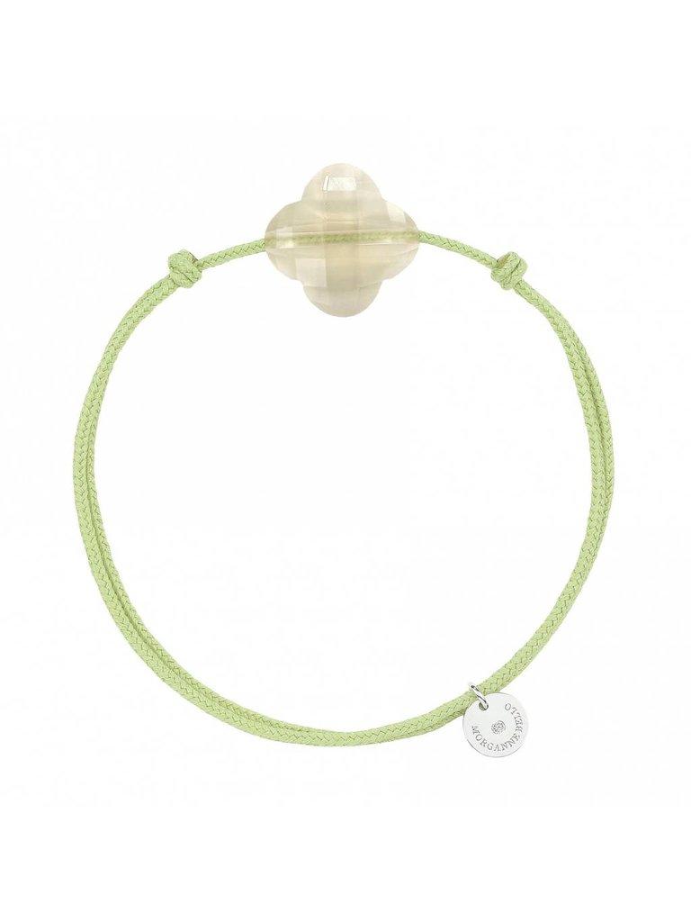 Morganne Bello Morganne Bello koord armband met Quartz klaver steen Citrine groen