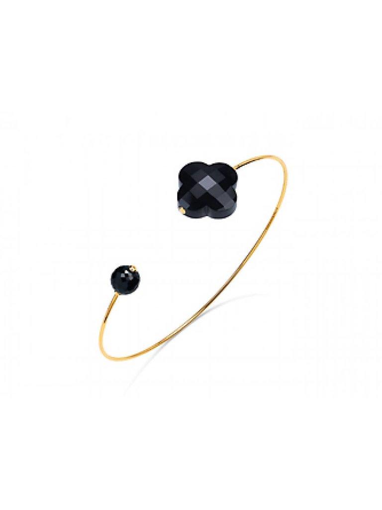 Morganne Bello Morganne Bello gouden armband met Onyx steen zwart