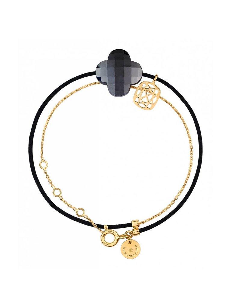 Morganne Bello Morganne Bello gold bracelet Liane with Hematite stone