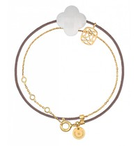 Morganne Bello Morganne Bello gold bracelet Liane with Agate stone white