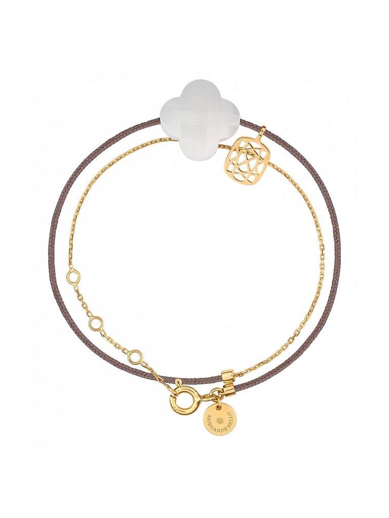 Morganne Bello Morganne Bello gouden armband Liane met Agate steen wit