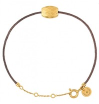 Morganne Bello cord bracelet taupe with Cushion golden stone