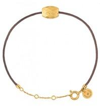 Morganne Bello koord armband taupe met Cushion gouden steen