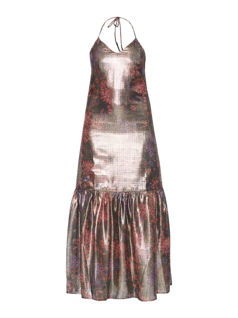 Valentine Gauthier Valentine Gauthier Castel Metallic Elma dress with lurex details multicolor