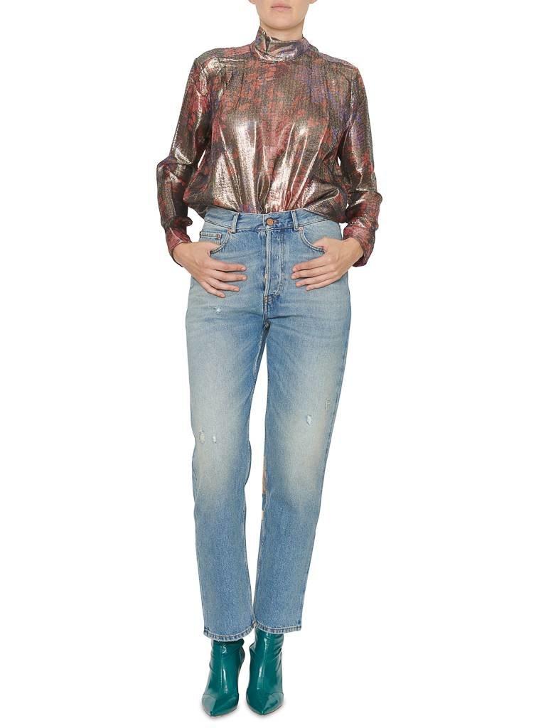 Pt05 PT05 Loose fit jeans met destroyed en rosé-goudkleurige details