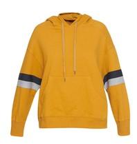 Sundry sweater met streep details en capuchon mosterdgeel