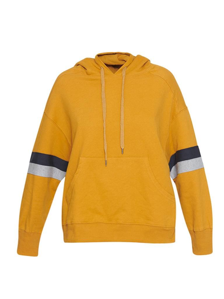 Sundry Sundry sweater with stripe details and hood mustard yellow