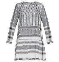 CECILIE Copenhagen jurk met ronde hals en volant zwart wit