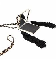 Elisabetta Franchi necklace with mirror and tassels gold black