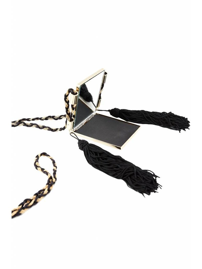 Elisabetta Franchi ketting met spiegel en tassels goud zwart