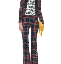 Godert.Me Godert.me flair trousers with gold colored tartan print