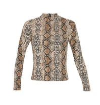La Sisters LA Sisters Snake turtle neck top with long sleeves