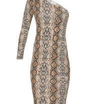LA Sisters Off-shoulder midi snake dress met print