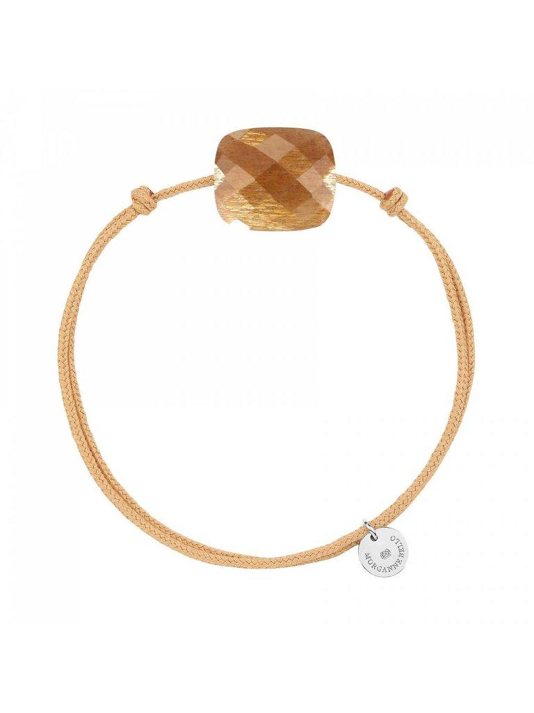 Morganne Bello Morganne Bello koord armband met sunstone steen beige