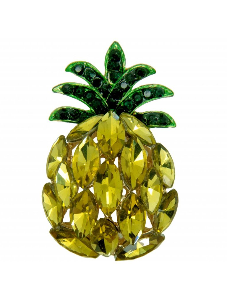 Godert.Me Godert.Me Rhinestone pineapple pin goud