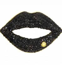 Godert.me Rhinestone lips pin zwart goud