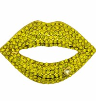 Godert.Me Godert.me Rhinestone lips pin yellow gold