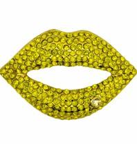Godert.me Rhinestone lips pin geel goud