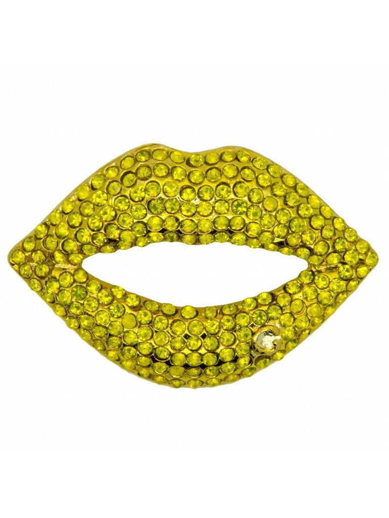 Godert.Me Godert.me Rhinestone lips pin geel goud
